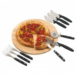 Kerek pizzatányér evőeszközzel